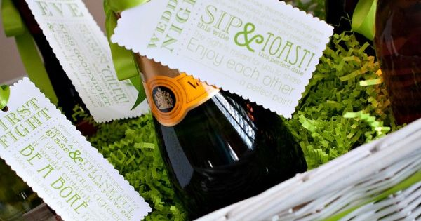 "Great Wedding or Bridal Shower Gift! Champagne basket with different ""reason to"