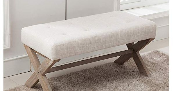 Fabric Upholstered Ottoman Bench Seat Large Rectangular Footstool Rustic Bench With X Upholstered Entryway Bench Bedroom Bench Seat Upholstered Bench Bedroom