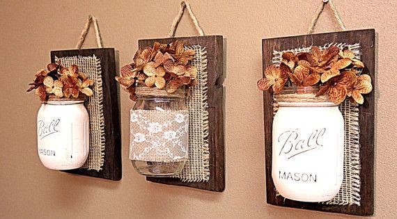 Mason Jar Wall Decor , Burlap and Lace, Pallet Wood , Rustic