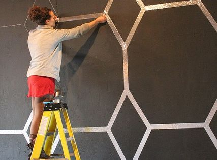 Foil Tape Wall Design - get the tape at Home Depot, etc.