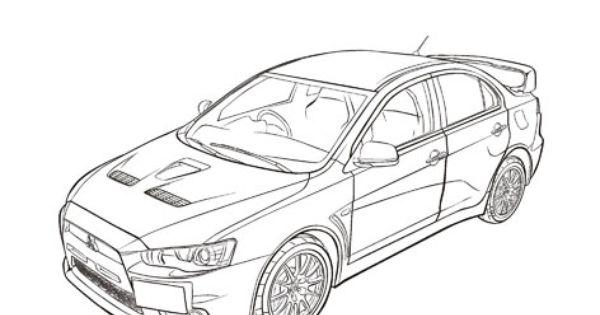 mitsubishi lancer  cars coloring pages  cars coloring