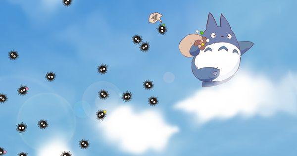 Download Wallpaper 1920x1080 My Neighbor Totoro Sky Clouds Susuwatari Spirited Away Full Hd 1080p Hd Background Nordigt