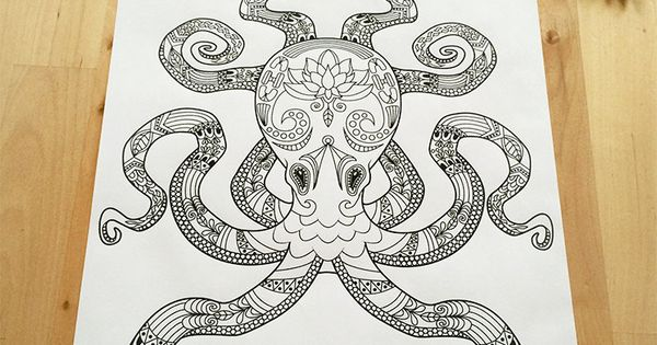 Octopus coloring page for adults nautical lotus flower for Adult coloring pages nautical