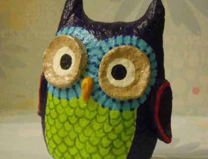 Whimsy owl by holly st denis 39 dorable pinterest for Diy paper mache owl