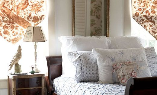 sleigh bed + window treatments, soft and natural for a guest bedroom