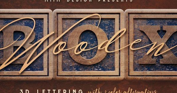 Vintage Wooden Box – 3D Lettering with grunge style