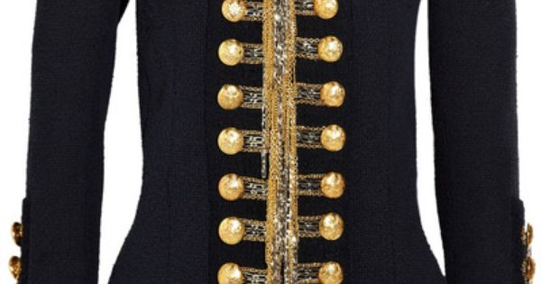 THE Balmain jacket. Gold and silver hanging chain detail, gold crested buttons.