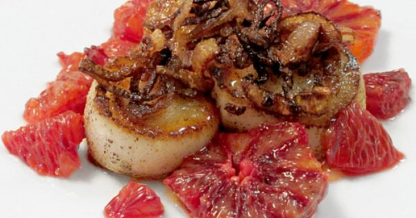 ... blood orange gastrique and fried shallots | Scallops, Blood and Seared
