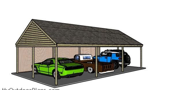 Carport plans for 3 cars how to build a carport for Carport with storage shed plans
