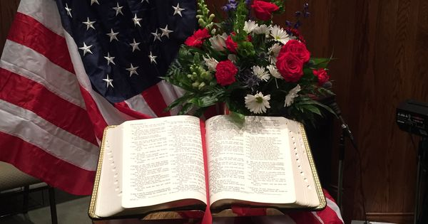 powerfully simple patriotic display with a bible flag and