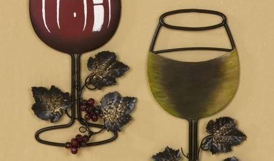 Wall Decor Wine Glasses : Red white wine glass with vine and grapes metal wall