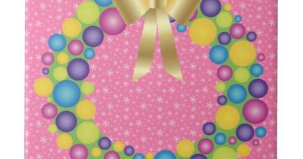 Pretty Christmas Wreath In Pink Ceramic Tile Decor For