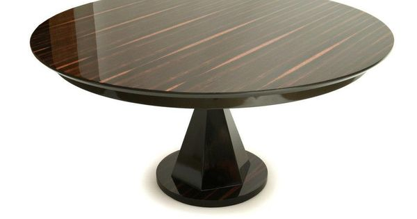 Stunning Round Macassar Ebony Pedestal Dining Table