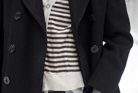 peacoat, striped cardigan sweater, buttondown shirt