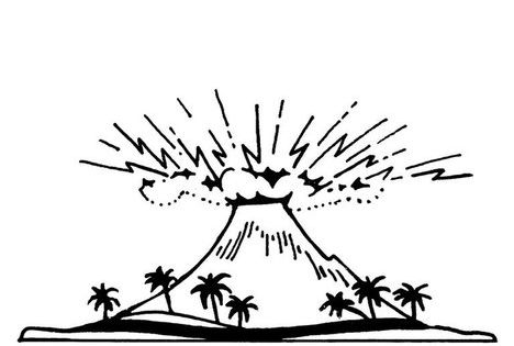 v is for volcano coloring pages - photo #41
