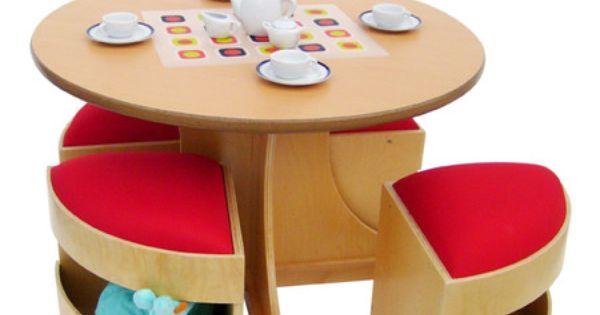 Child's Table & Storage Stools.