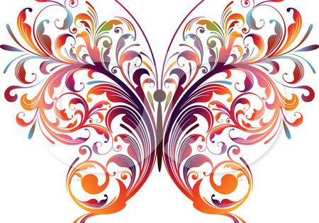 graphic design of flower clipart | Name: Abstract Floral Butterfly Vector Graphic