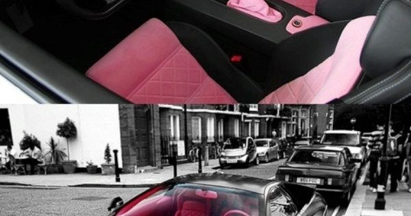 This is pretty sexy. A matte black Lambo with pink interior ?