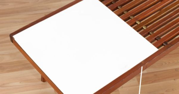 Vintage white laminate slat table coffee tables side for Dressing a coffee table