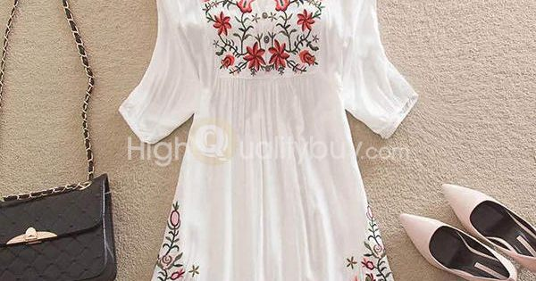 Charming boho embroidery mexican pessant hippie dress for