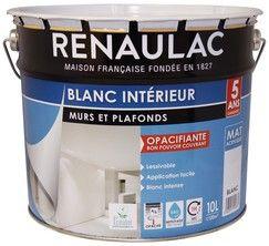 Peinture Blanche Mate Pour Murs Et Plafonds 10 L Renaulac