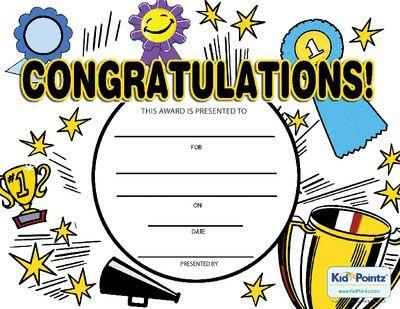 Printable Congratulations Award Kids Awards Certificates Kids