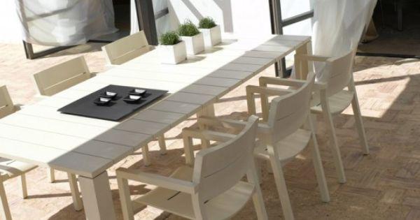tribu versus kos contemporary outdoor furniture - dining set white ...