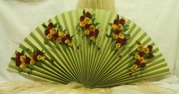 Fanfold decoration with paper flowers made with 2 sheets for Artificial flowers decoration for ganpati