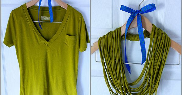 DIY no sew t shirt necklace