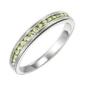 10k White Gold Peridot Channel Set Birthstone Ring With Images Three Stone Diamond Rings Engagement White Gold Diamond Rings Engagement Rings Opal