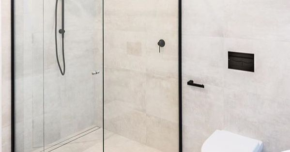 Matte Black Framed Shower Screen With Matte Black Mixer And Shower Head Project B Small Bathroom Remodel Designs Bathroom Design Small Bathroom Remodel Shower