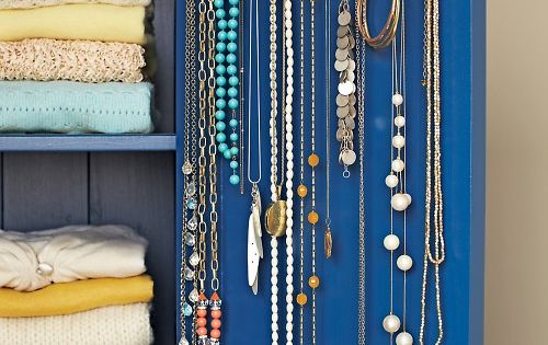 Simple Jewelry Hanger - Martha Stewart Good Things. Hang necklaces from shower