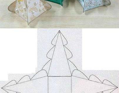 Diy gabarit de boite en forme d 39 arbre de noel noel pinterest flore arbres et origami - Arbre de noel origami ...