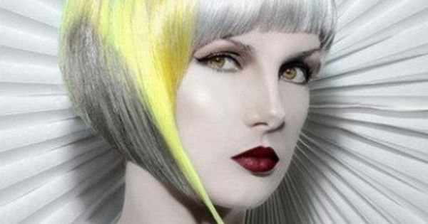 haircuts for shapes avant garde angular bob hairstyle with gray and yellow 6060
