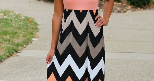 The Pink Lily Boutique - Taupe Chevron Maxi Plus Size, $39.00 TOP