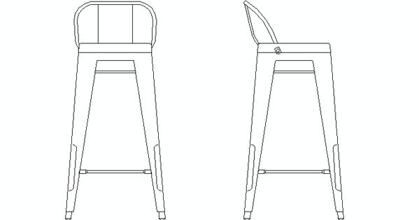 Taburete tolix en alzado bloques autocad de sillas de for Taburete dwg