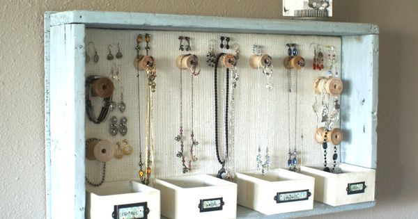 Jewelry organization - use an old drawer on the wall as the