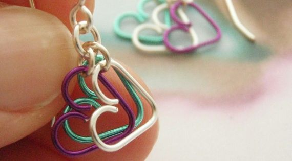 hearts wire earrings