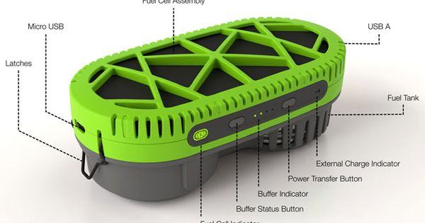 PowerTrekk, a portable fuel cell charger that runs on water. It can