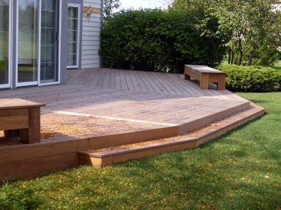 our deck would be just a step up from the yard, theoretically ... - Deck Patio Designs