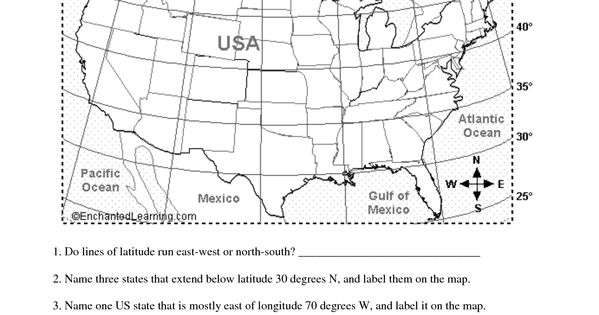 longitude and latitude printable worksheet