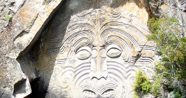 NewZealand - Maori rock carvings at Mine Bay on Lake Taupo, New
