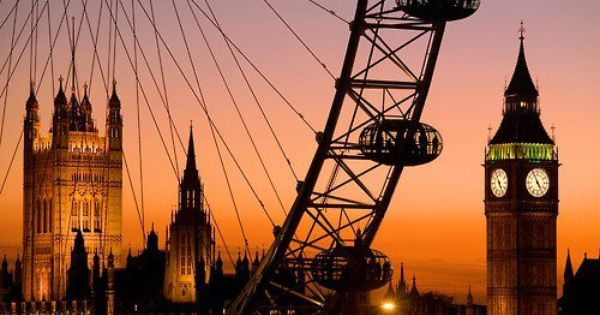 Golden Sunset, London, England with the London Eye in the foreground