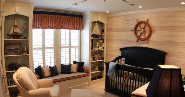 Baby Boys Nursery - love the window seat!