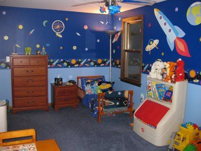 Amazing Little Boy S Outer Space Toddler Bedroom Boys Bedroom Themes Boy Room Themes Toddler Boys Bedroom Themes