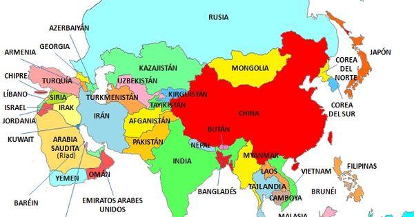 Países De Asia Saber Es Práctico Mapa De Asia Mapa Asia Politico Mapa De Europa