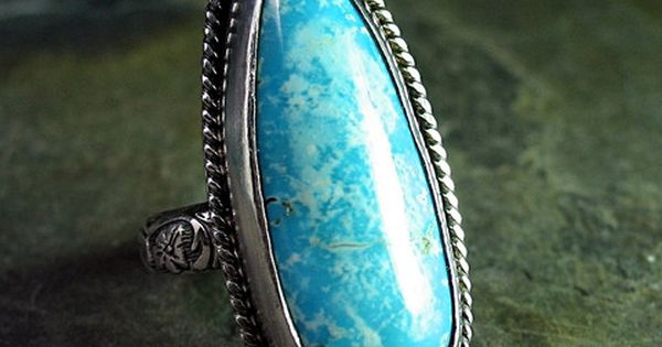 Sterling silver and turquoise ring, Lavender Cottage Jewelry.