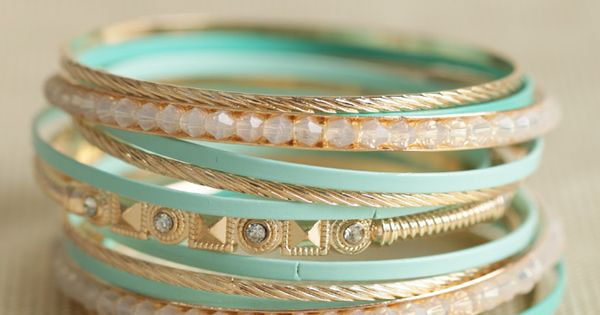 Tiffany blue and gold bangle set