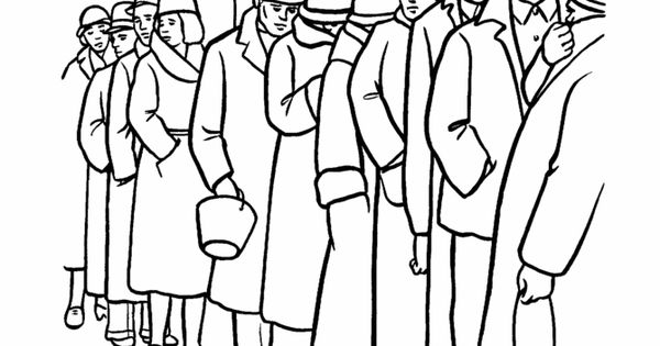 Great Depression bread line coloring page. To accompany ...