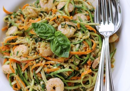 m hren zucchini spaghetti mit basilikum walnuss pesto und shrimps eatbakelove pinterest 2. Black Bedroom Furniture Sets. Home Design Ideas